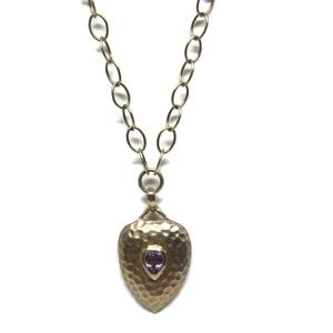 Hammered Sterling Silver Amethyst Necklace